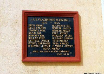 Bakonyszombathely, II.vh. emléktábla
