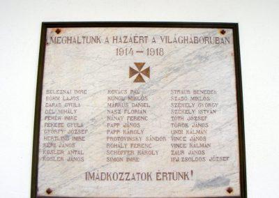 Balatonfüred, Vörös templom. I. világháborús emléktábla.