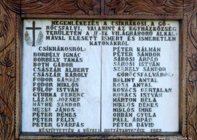 Csíkrákos és Göröcsfalva II. világháborús emlékmű 2018.04.29. küldő-Bóta Sándor (3)