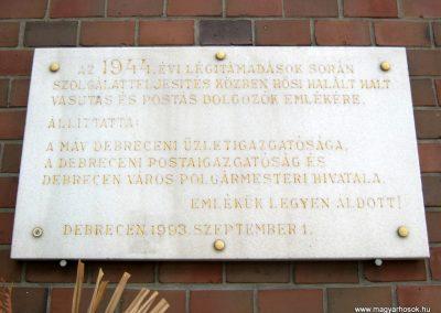 Debrecen vasútállomás II. világháborús emléktábla 2017.07.12. küldő-Emese (2)