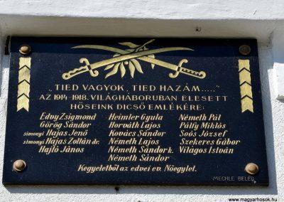 Edve I. világháborús emléktábla az evangélikus templom falán (2)