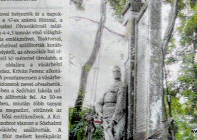 Hódmezővásárhely-Sóshalom egy újságcikk az emlékműről. 2014.09.04. küldő-Sümec (2)