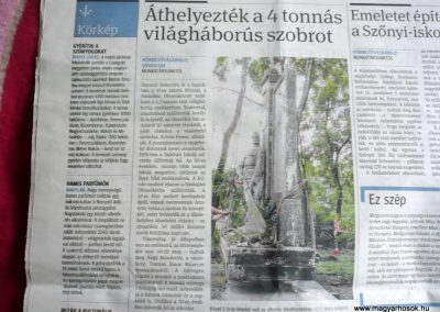 Hódmezővásárhely-Sóshalom egy újságcikk az emlékműről. 2014.09.04. küldő-Sümec
