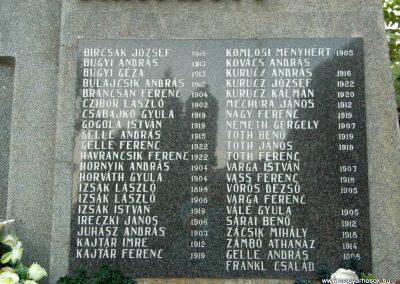 Izsa, II. vh. emlékmű