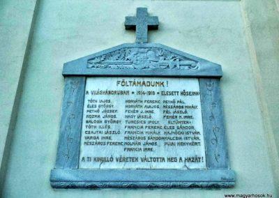 Nyalka, I. világháborús emléktábla, katolikus templom falán