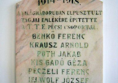 Pécs - Laubert Dezső sportcsarnok - I. és II. világháborús emléktáblák 2016.07.22. küldő-Emese (2)
