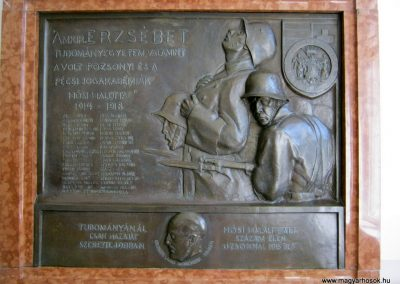 Pécs - Tudományegyetem - I. világháborús emléktábla 2016. 07.20. küldő-Emese (1)