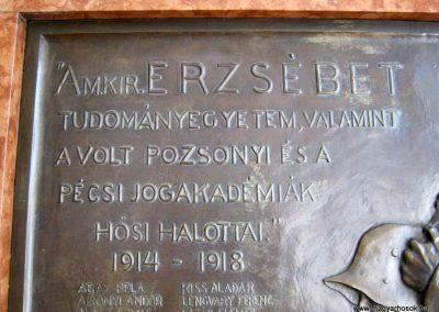 Pécs - Tudományegyetem - I. világháborús emléktábla 2016. 07.20. küldő-Emese (2)