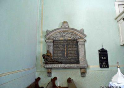 I. és II. világháborús emléktábla, az evangélikus templomban.