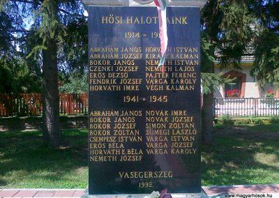 Vasegerszeg világháborús emlékmű 2010.08.10. küldő-Csiszár Lehel (3)